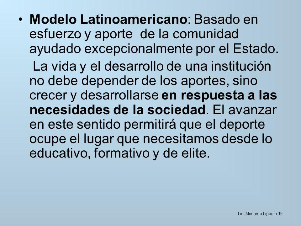 Modelo Latinoamericano: Basado en esfuerzo y aporte de la comunidad ayudado excepcionalmente por el Estado.