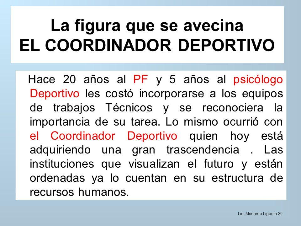 La figura que se avecina EL COORDINADOR DEPORTIVO Hace 20 años al PF y 5 años al psicólogo Deportivo les costó incorporarse a los equipos de trabajos Técnicos y se reconociera la importancia de su tarea.