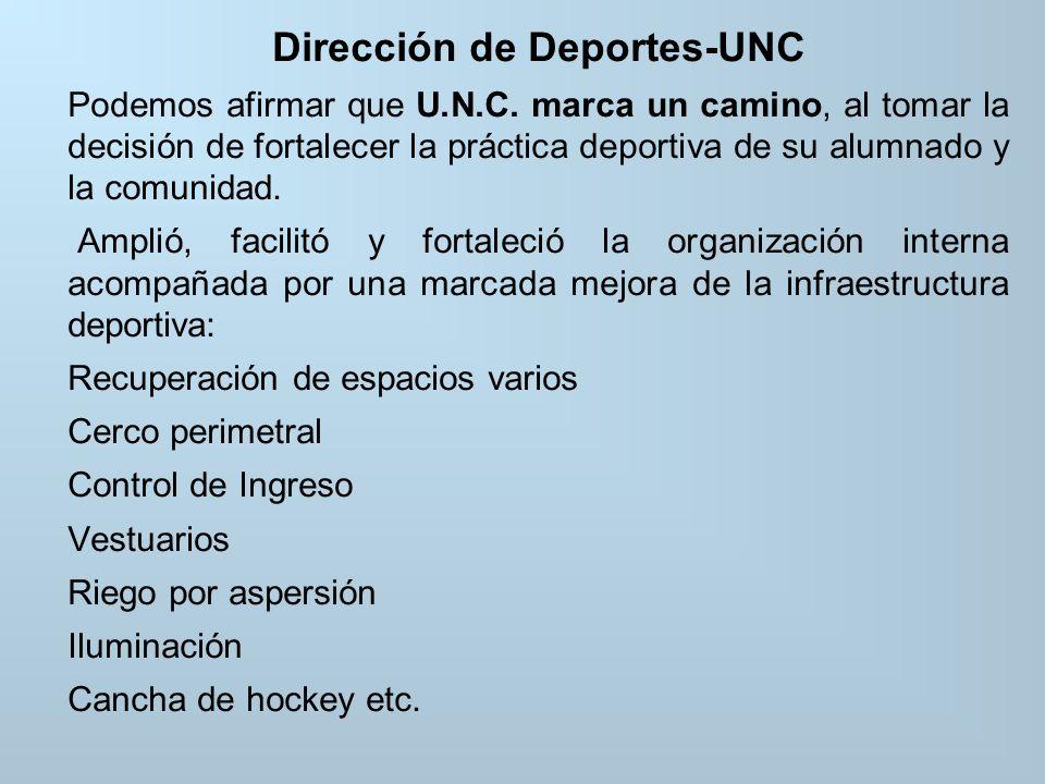 Dirección de Deportes-UNC Podemos afirmar que U.N.C.