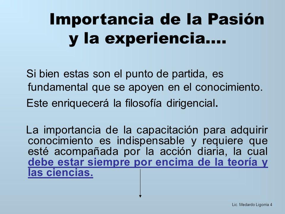 Importancia de la Pasión y la experiencia....