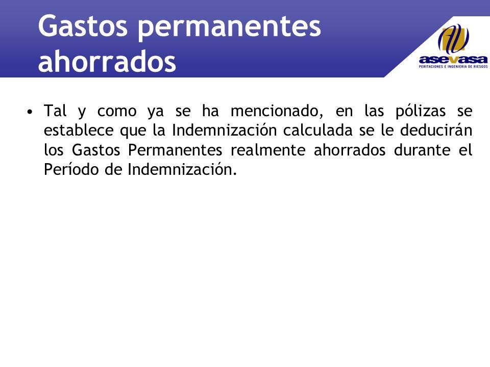 Gastos permanentes ahorrados Tal y como ya se ha mencionado, en las pólizas se establece que la Indemnización calculada se le deducirán los Gastos Permanentes realmente ahorrados durante el Período de Indemnización.