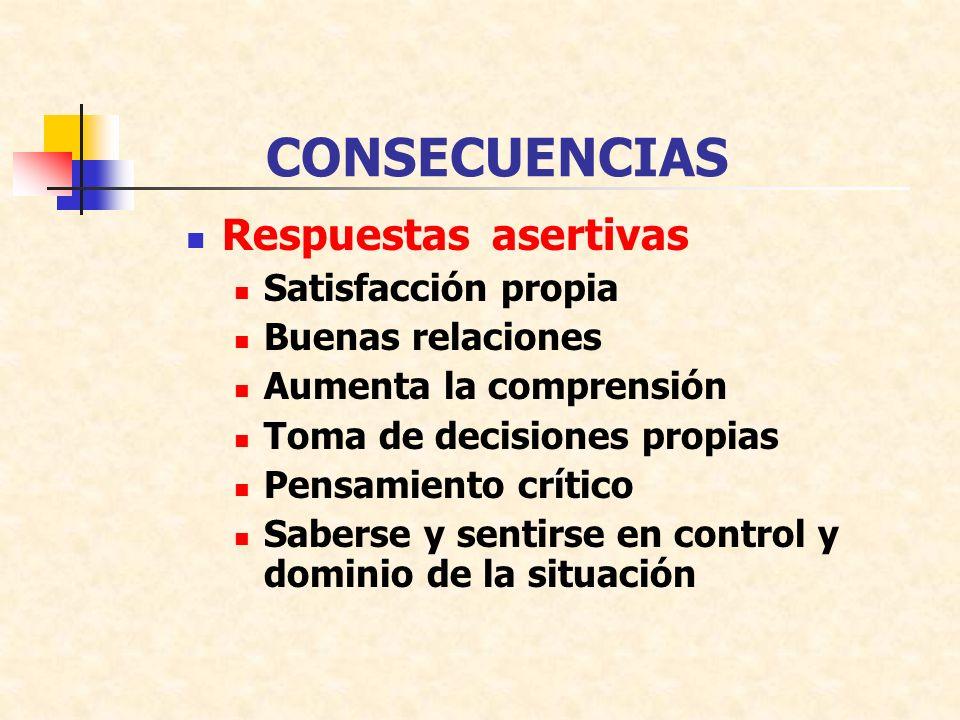 CONSECUENCIAS Respuestas asertivas Satisfacción propia Buenas relaciones Aumenta la comprensión Toma de decisiones propias Pensamiento crítico Saberse y sentirse en control y dominio de la situación