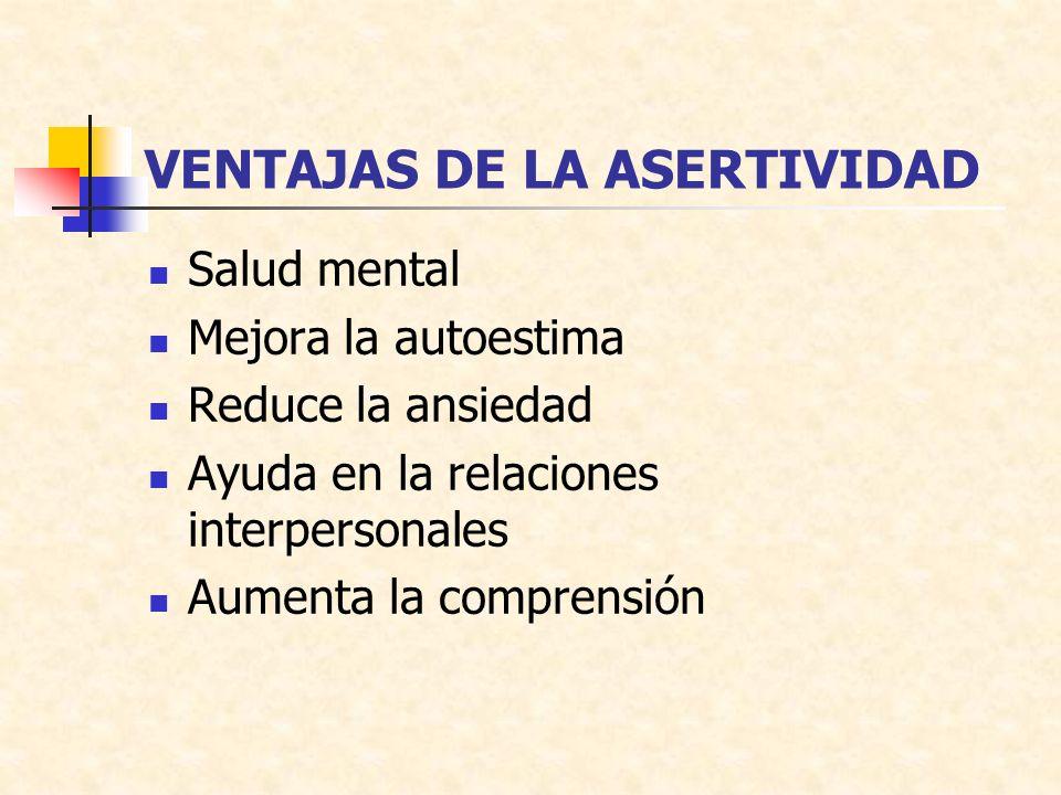 VENTAJAS DE LA ASERTIVIDAD Salud mental Mejora la autoestima Reduce la ansiedad Ayuda en la relaciones interpersonales Aumenta la comprensión