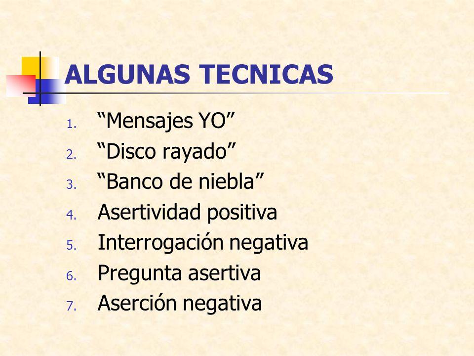 ALGUNAS TECNICAS 1.Mensajes YO 2. Disco rayado 3.