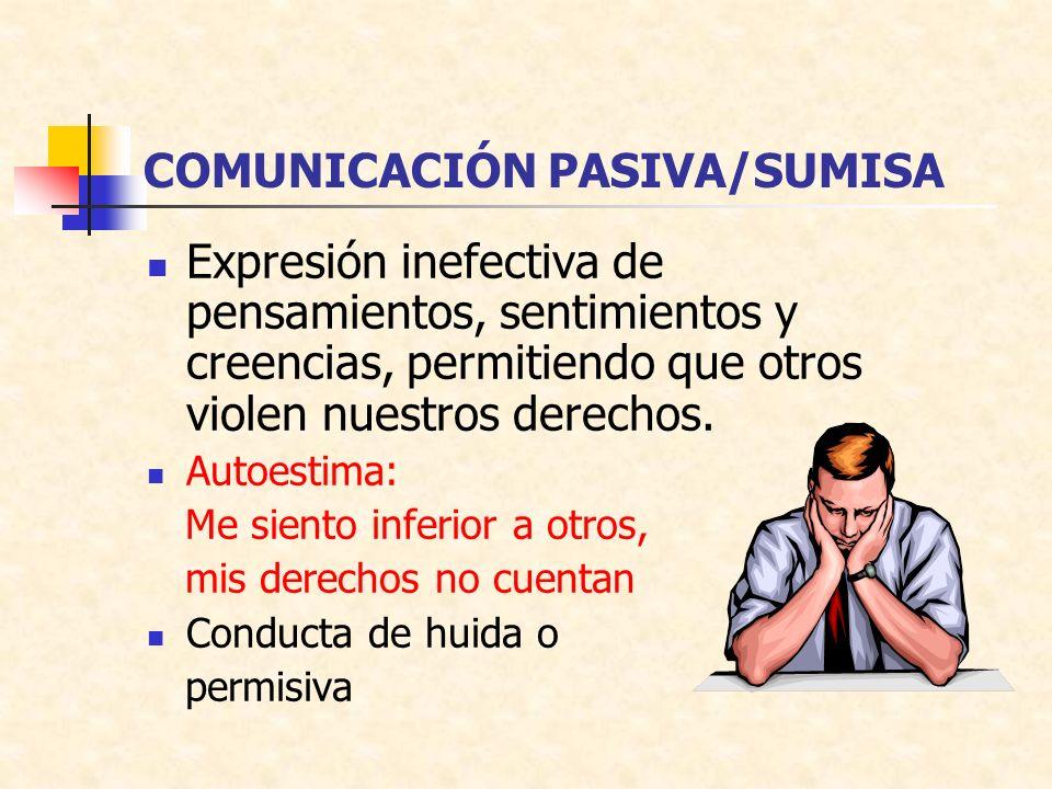 COMUNICACIÓN PASIVA/SUMISA Expresión inefectiva de pensamientos, sentimientos y creencias, permitiendo que otros violen nuestros derechos.