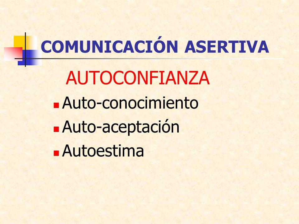 COMUNICACIÓN ASERTIVA AUTOCONFIANZA Auto-conocimiento Auto-aceptación Autoestima