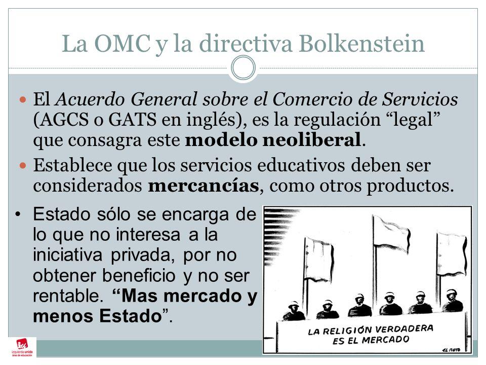 La OMC y la directiva Bolkenstein El Acuerdo General sobre el Comercio de Servicios (AGCS o GATS en inglés), es la regulación legal que consagra este modelo neoliberal.