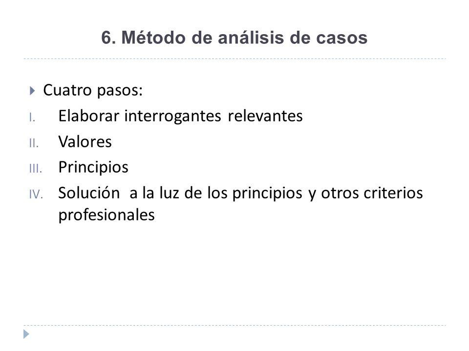 6. Método de análisis de casos Cuatro pasos: I. Elaborar interrogantes relevantes II. Valores III. Principios IV. Solución a la luz de los principios