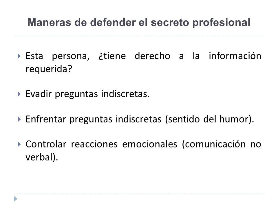 Maneras de defender el secreto profesional Esta persona, ¿tiene derecho a la información requerida? Evadir preguntas indiscretas. Enfrentar preguntas