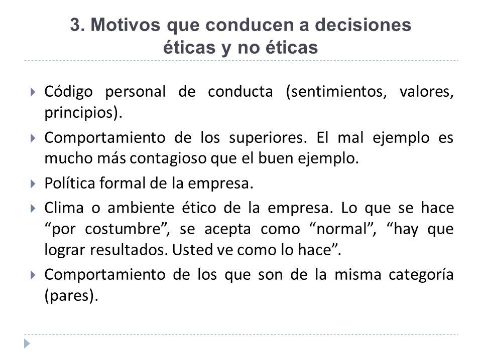 3. Motivos que conducen a decisiones éticas y no éticas Código personal de conducta (sentimientos, valores, principios). Comportamiento de los superio