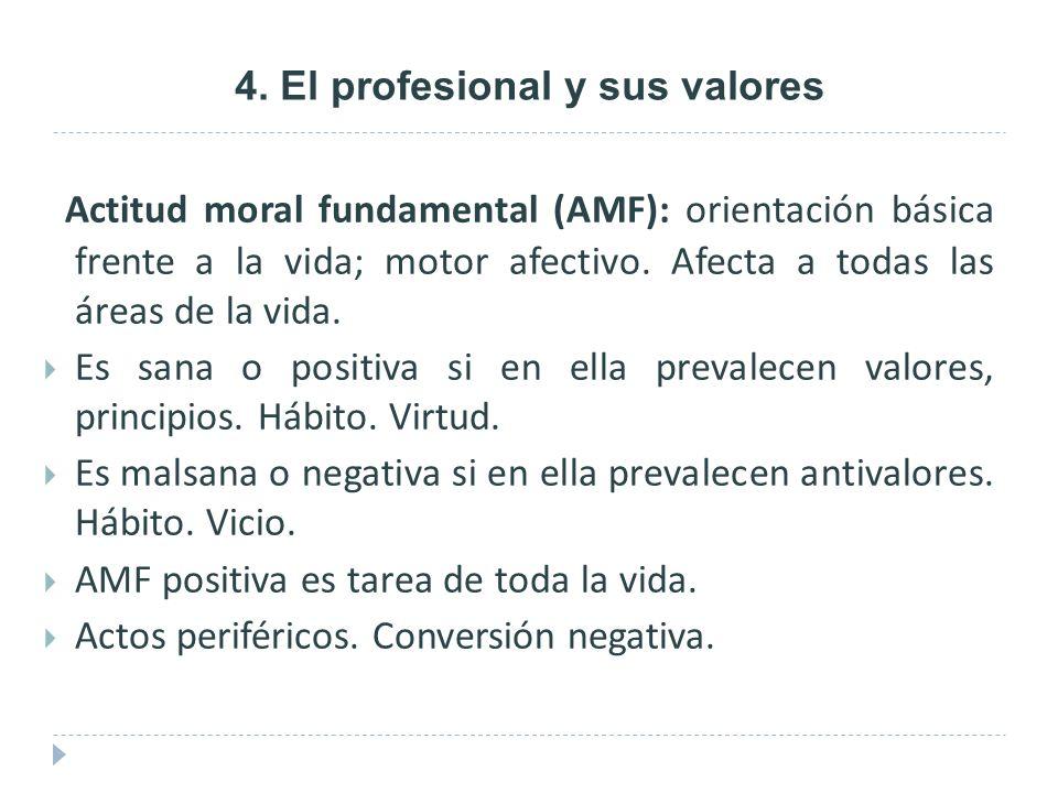 4. El profesional y sus valores Actitud moral fundamental (AMF): orientación básica frente a la vida; motor afectivo. Afecta a todas las áreas de la v