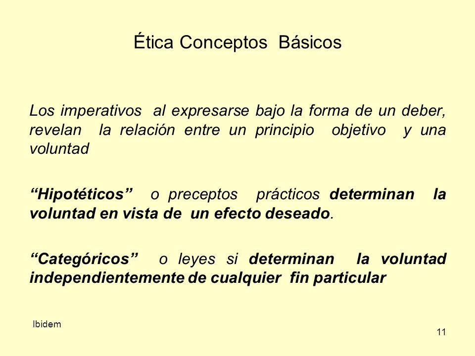 11 Ética Conceptos Básicos Los imperativos al expresarse bajo la forma de un deber, revelan la relación entre un principio objetivo y una voluntad Hipotéticos o preceptos prácticos determinan la voluntad en vista de un efecto deseado.