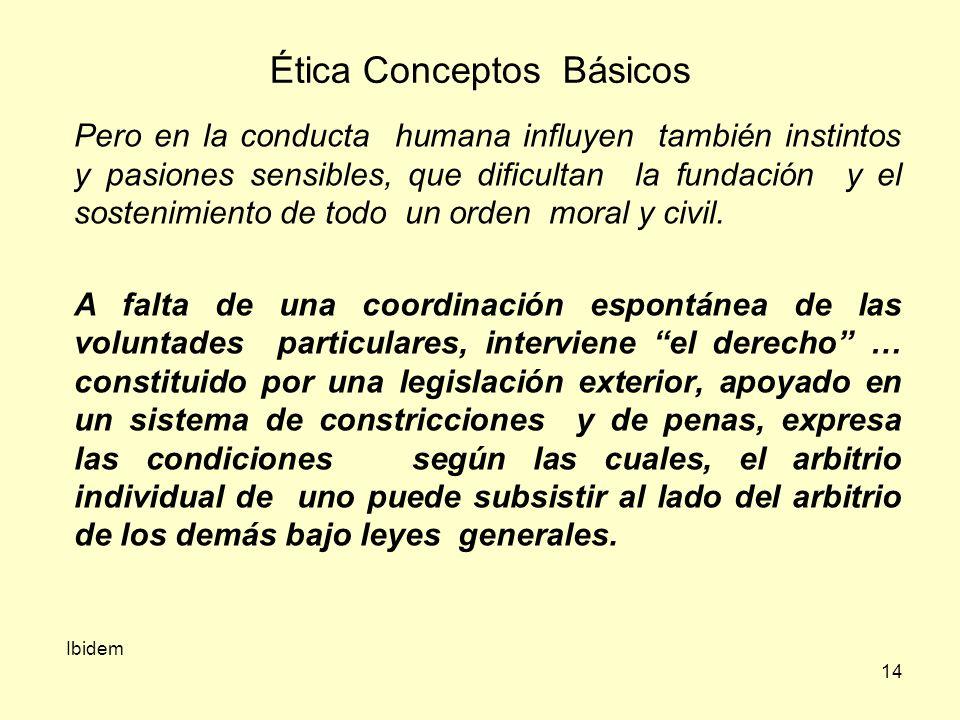 14 Ética Conceptos Básicos Pero en la conducta humana influyen también instintos y pasiones sensibles, que dificultan la fundación y el sostenimiento de todo un orden moral y civil.
