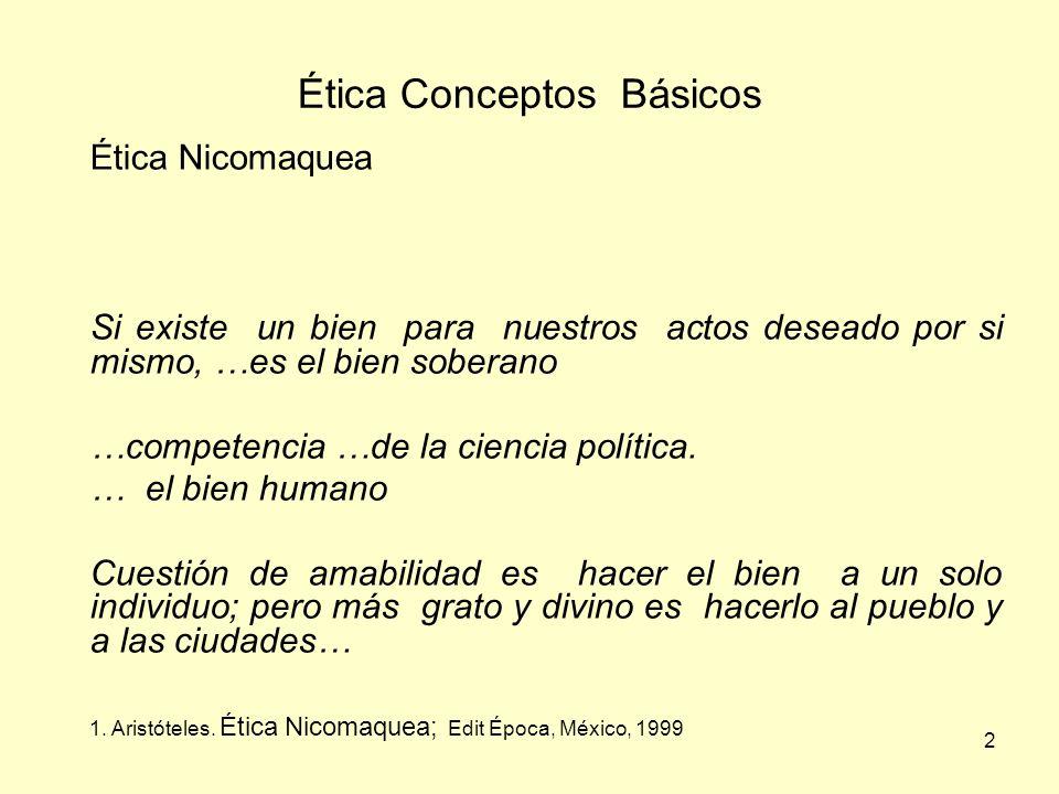 2 Ética Conceptos Básicos Ética Nicomaquea Si existe un bien para nuestros actos deseado por si mismo, …es el bien soberano …competencia …de la ciencia política.