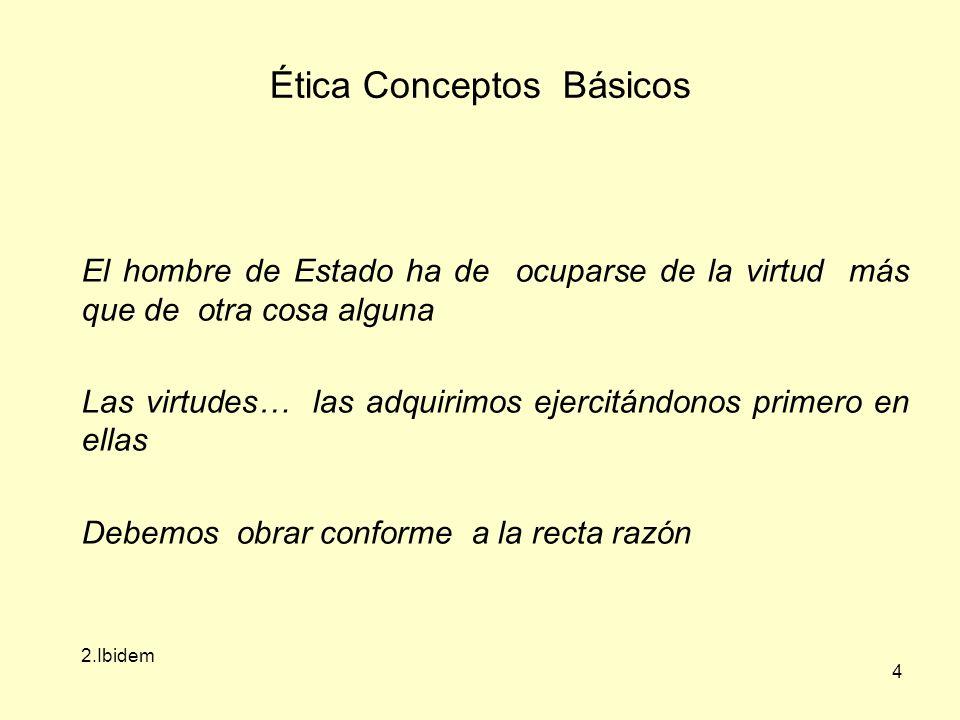 4 Ética Conceptos Básicos El hombre de Estado ha de ocuparse de la virtud más que de otra cosa alguna Las virtudes… las adquirimos ejercitándonos primero en ellas Debemos obrar conforme a la recta razón 2.Ibidem