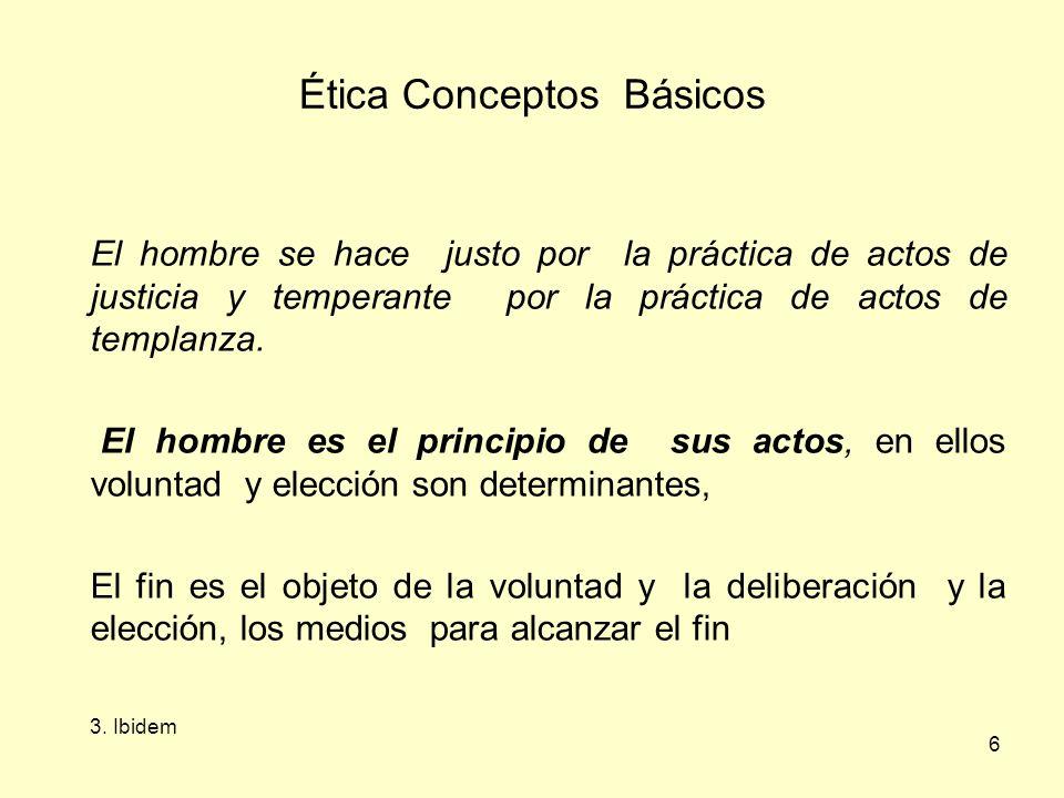 6 Ética Conceptos Básicos El hombre se hace justo por la práctica de actos de justicia y temperante por la práctica de actos de templanza.