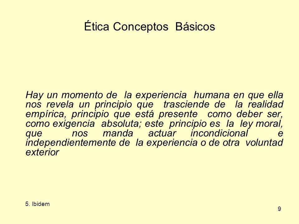 9 Ética Conceptos Básicos Hay un momento de la experiencia humana en que ella nos revela un principio que trasciende de la realidad empírica, principio que está presente como deber ser, como exigencia absoluta; este principio es la ley moral, que nos manda actuar incondicional e independientemente de la experiencia o de otra voluntad exterior 5.