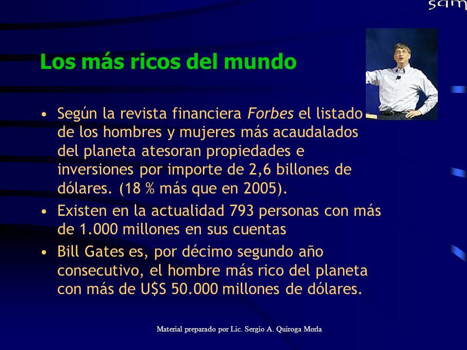 Material preparado por Lic. Sergio A. Quiroga Morla Los más ricos del mundo Según la revista financiera Forbes el listado de los hombres y mujeres más
