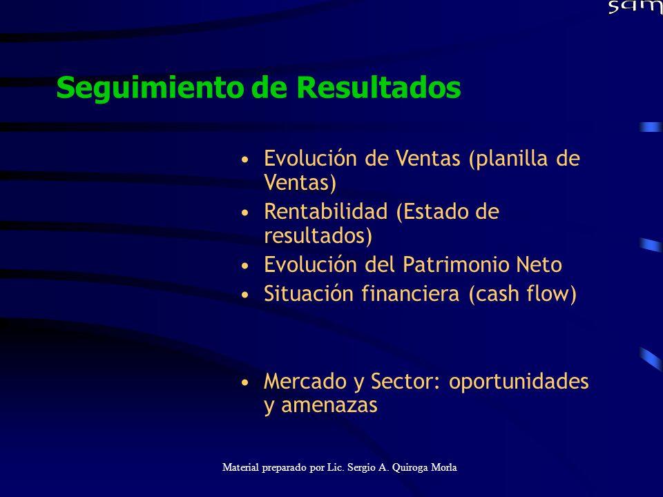 Material preparado por Lic. Sergio A. Quiroga Morla Seguimiento de Resultados Evolución de Ventas (planilla de Ventas) Rentabilidad (Estado de resulta