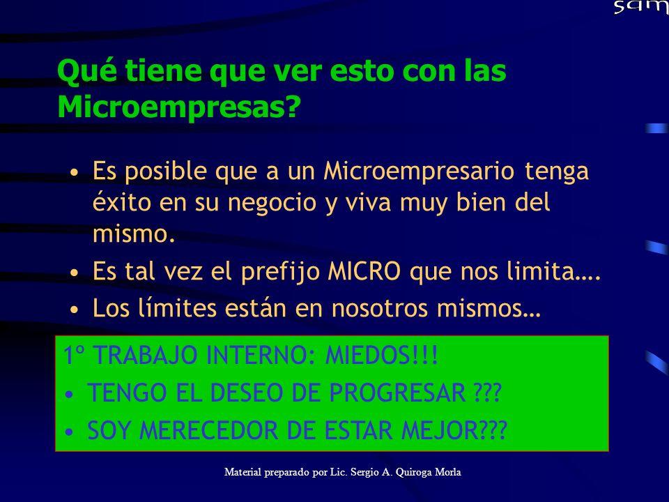 Material preparado por Lic. Sergio A. Quiroga Morla Qué tiene que ver esto con las Microempresas? Es posible que a un Microempresario tenga éxito en s