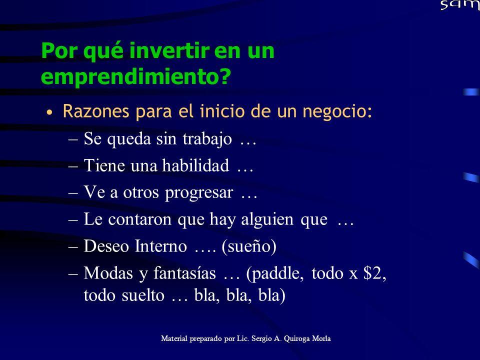 Material preparado por Lic. Sergio A. Quiroga Morla Por qué invertir en un emprendimiento? Razones para el inicio de un negocio: –Se queda sin trabajo