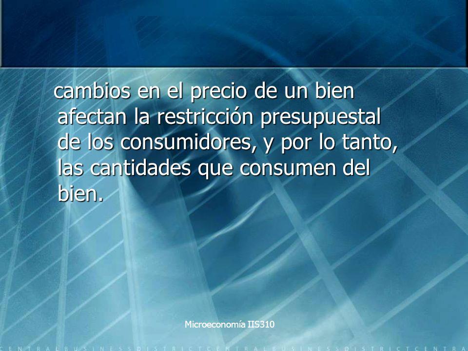Microeconomía IIS310 cambios en el precio de un bien afectan la restricción presupuestal de los consumidores, y por lo tanto, las cantidades que consu
