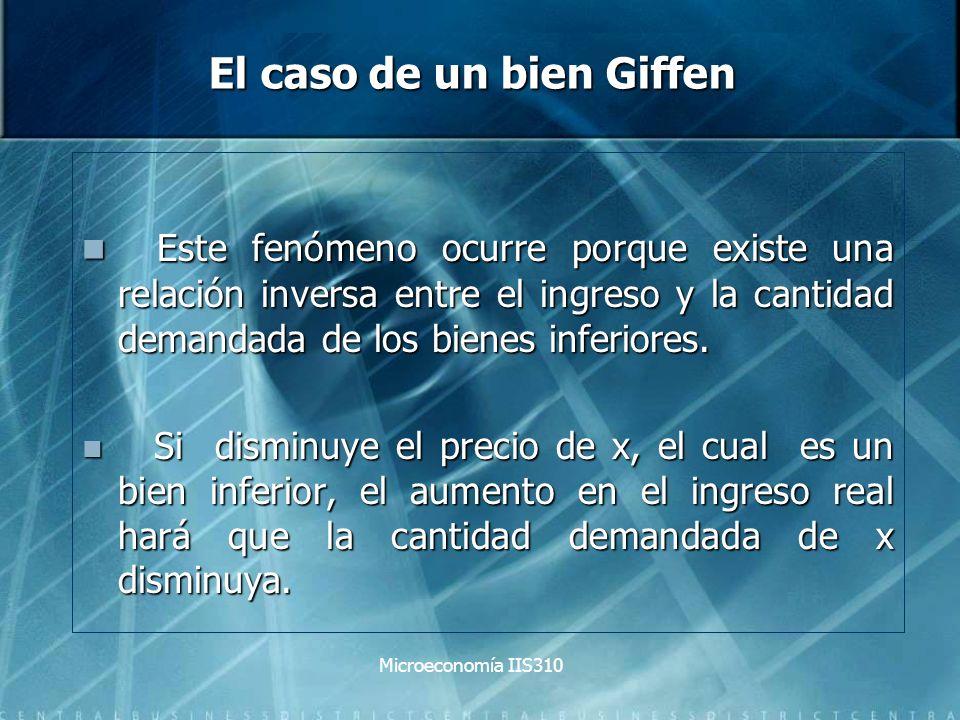 Microeconomía IIS310 El caso de un bien Giffen Este fenómeno ocurre porque existe una relación inversa entre el ingreso y la cantidad demandada de los