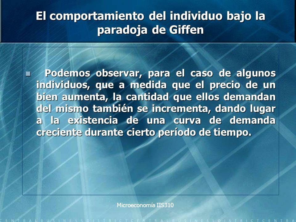 Microeconomía IIS310 El comportamiento del individuo bajo la paradoja de Giffen Podemos observar, para el caso de algunos individuos, que a medida que
