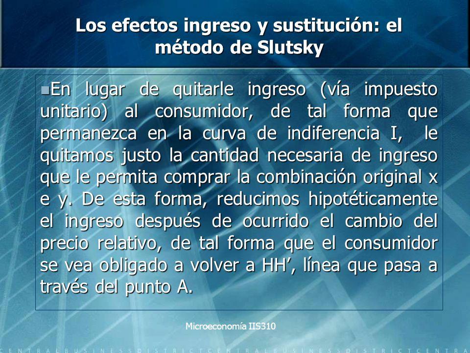 Microeconomía IIS310 Los efectos ingreso y sustitución: el método de Slutsky En lugar de quitarle ingreso (vía impuesto unitario) al consumidor, de ta