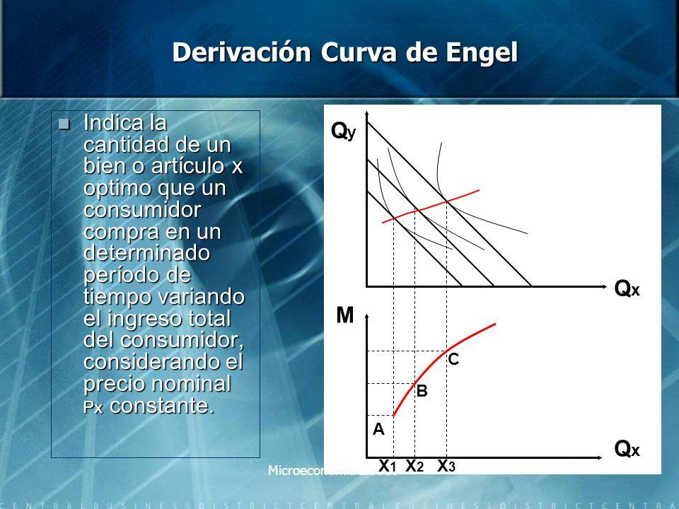 Microeconomía IIS310 Efecto Ingreso con un bien inferior El efecto es medido por la distancia entre x3 y x2 El efecto es medido por la distancia entre x3 y x2 Hay un incremento de ingreso Hay un incremento de ingreso Al final termina consumiendo en el punto C Al final termina consumiendo en el punto C Movimiento de D a C y es negativo (reducción bien X) Movimiento de D a C y es negativo (reducción bien X) Consumidor adquiere menor cantidad del bien X Consumidor adquiere menor cantidad del bien X Punto optimo L.R.P Incremento ingreso