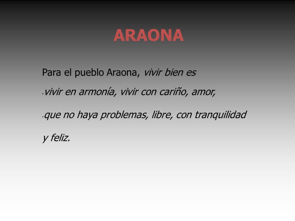 ARAONA Para el pueblo Araona, vivir bien es vivir en armonía, vivir con cariño, amor, que no haya problemas, libre, con tranquilidad y feliz.