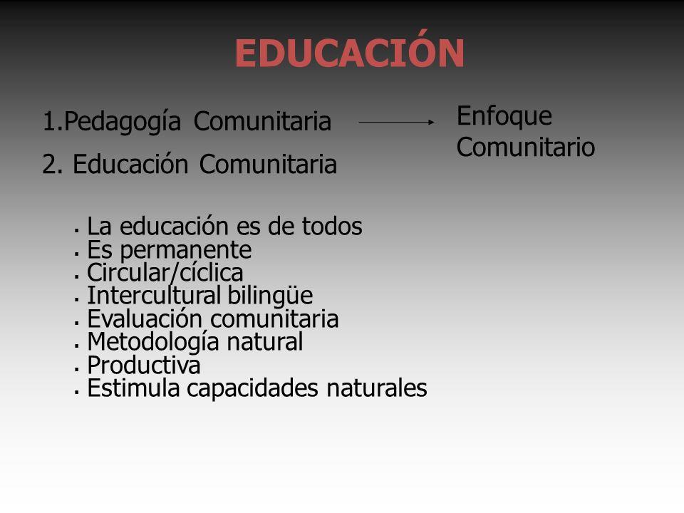 EDUCACIÓN 1.Pedagogía Comunitaria Enfoque Comunitario 2.