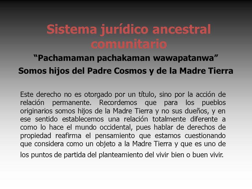 Sistema jurídico ancestral comunitario Pachamaman pachakaman wawapatanwa Somos hijos del Padre Cosmos y de la Madre Tierra Este derecho no es otorgado por un título, sino por la acción de relación permanente.