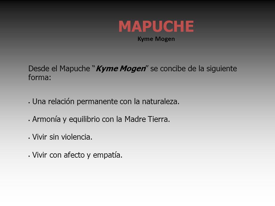 Desde el Mapuche Kyme Mogen se concibe de la siguiente forma: Una relación permanente con la naturaleza.