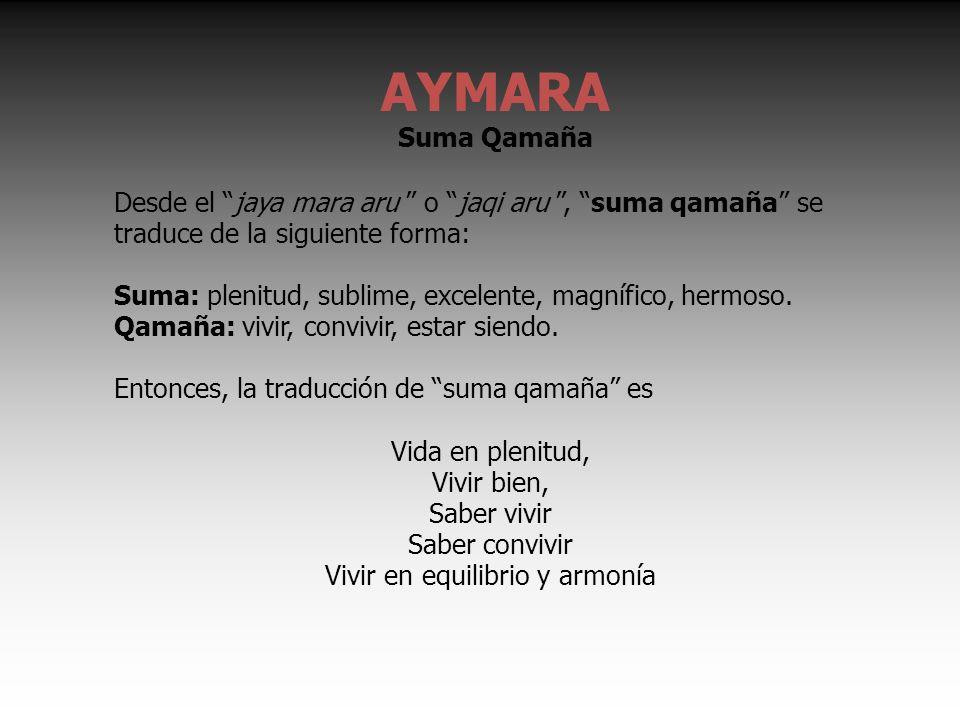 Desde el jaya mara aru o jaqi aru, suma qamaña se traduce de la siguiente forma: Suma: plenitud, sublime, excelente, magnífico, hermoso.