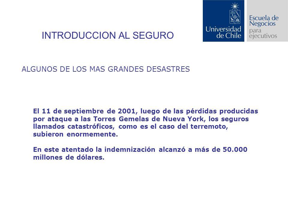 INTRODUCCION AL SEGURO ALGUNOS DE LOS MAS GRANDES DESASTRES El 11 de septiembre de 2001, luego de las pérdidas producidas por ataque a las Torres Gemelas de Nueva York, los seguros llamados catastróficos, como es el caso del terremoto, subieron enormemente.