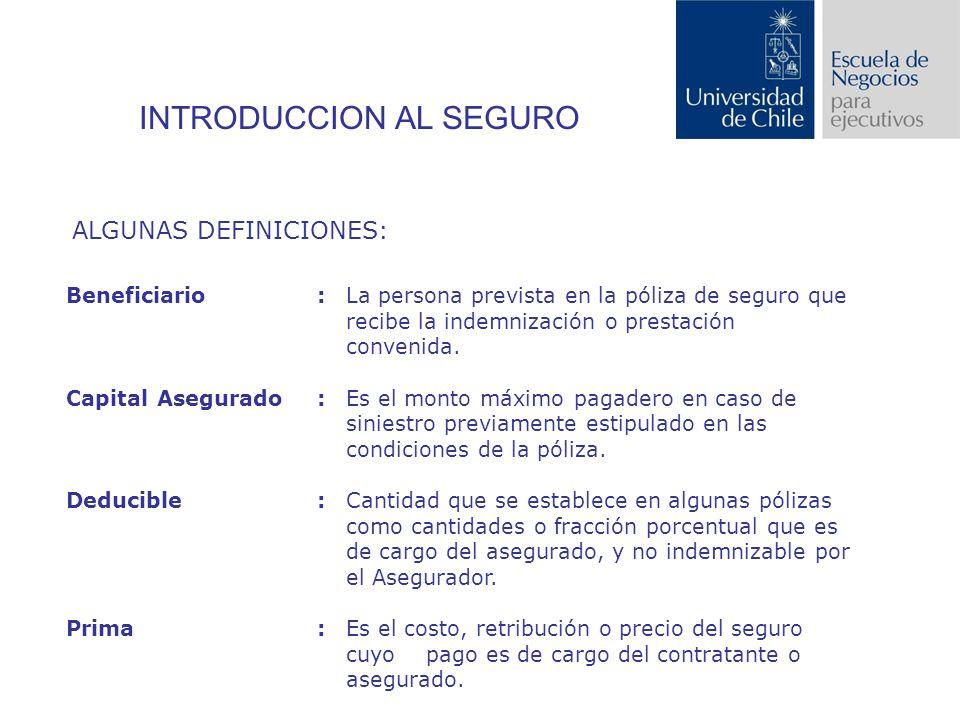 INTRODUCCION AL SEGURO ALGUNAS DEFINICIONES: Beneficiario: La persona prevista en la póliza de seguro que recibe la indemnización o prestación convenida.