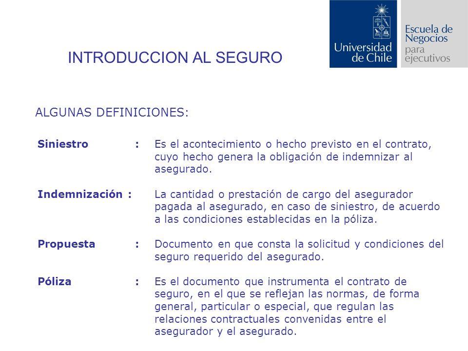 INTRODUCCION AL SEGURO ALGUNAS DEFINICIONES: Siniestro: Es el acontecimiento o hecho previsto en el contrato, cuyo hecho genera la obligación de indemnizar al asegurado.