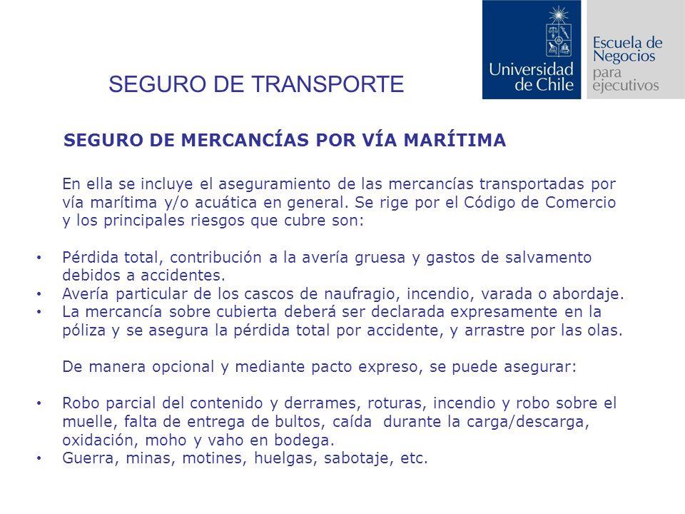 SEGURO DE TRANSPORTE En ella se incluye el aseguramiento de las mercancías transportadas por vía marítima y/o acuática en general.