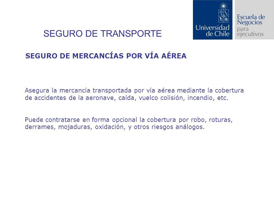 SEGURO DE TRANSPORTE Asegura la mercancía transportada por vía aérea mediante la cobertura de accidentes de la aeronave, caída, vuelco colisión, incendio, etc.