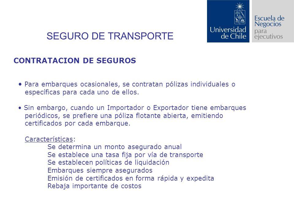 SEGURO DE TRANSPORTE CONTRATACION DE SEGUROS Para embarques ocasionales, se contratan pólizas individuales o específicas para cada uno de ellos.