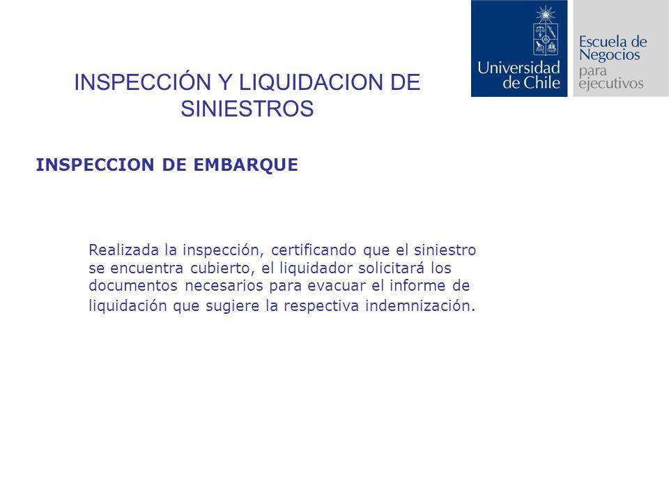 INSPECCIÓN Y LIQUIDACION DE SINIESTROS INSPECCION DE EMBARQUE Realizada la inspección, certificando que el siniestro se encuentra cubierto, el liquidador solicitará los documentos necesarios para evacuar el informe de liquidación que sugiere la respectiva indemnización.