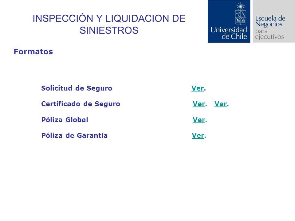 INSPECCIÓN Y LIQUIDACION DE SINIESTROS Formatos Solicitud de Seguro Ver.Ver Certificado de Seguro Ver.