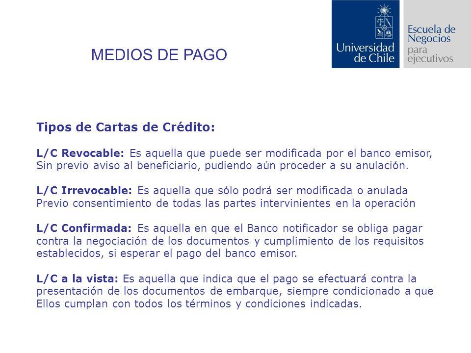 Tipos de Cartas de Crédito: L/C Revocable: Es aquella que puede ser modificada por el banco emisor, Sin previo aviso al beneficiario, pudiendo aún proceder a su anulación.