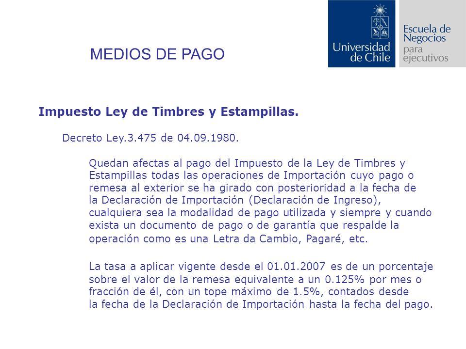 Impuesto Ley de Timbres y Estampillas.Decreto Ley.3.475 de 04.09.1980.