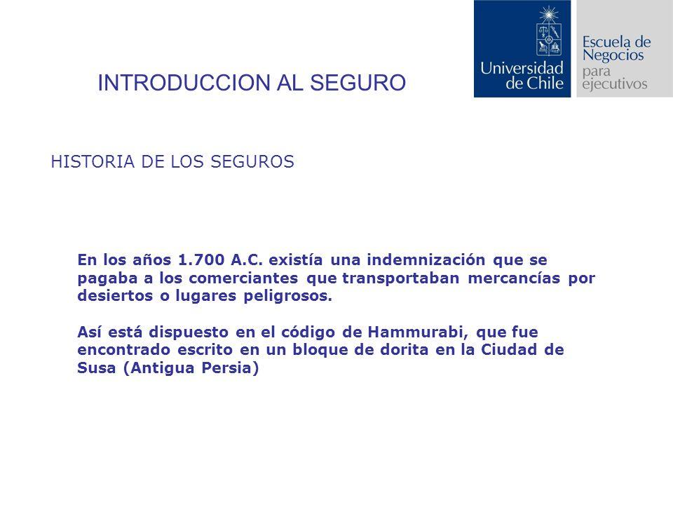 INTRODUCCION AL SEGURO HISTORIA DE LOS SEGUROS En los años 1.700 A.C.
