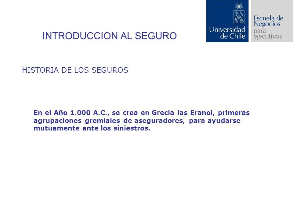 INTRODUCCION AL SEGURO HISTORIA DE LOS SEGUROS En el Año 1.000 A.C., se crea en Grecia las Eranoi, primeras agrupaciones gremiales de aseguradores, para ayudarse mutuamente ante los siniestros.