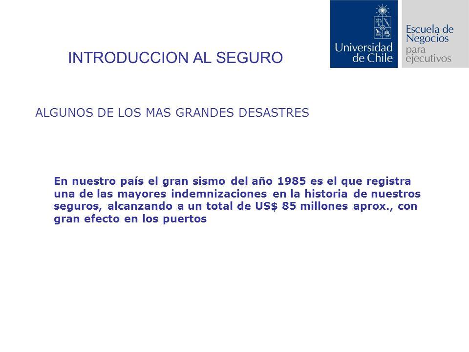 INTRODUCCION AL SEGURO ALGUNOS DE LOS MAS GRANDES DESASTRES En nuestro país el gran sismo del año 1985 es el que registra una de las mayores indemnizaciones en la historia de nuestros seguros, alcanzando a un total de US$ 85 millones aprox., con gran efecto en los puertos