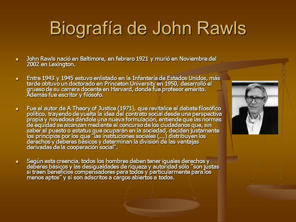 Biografía de John Rawls John Rawls nació en Baltimore, en febrero 1921 y murió en Noviembre del 2002 en Lexington. Entre 1943 y 1945 estuvo enlistado