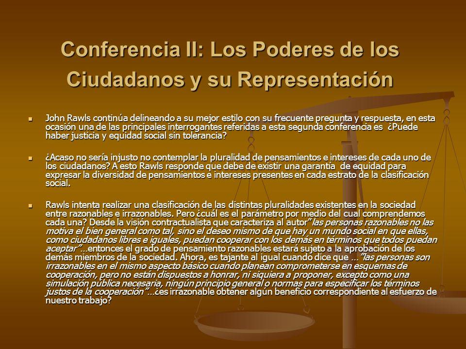 Conferencia II: Los Poderes de los Ciudadanos y su Representación John Rawls continúa delineando a su mejor estilo con su frecuente pregunta y respues